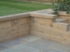 Oak Retaining Walls and Steps with Brazilian slate paving