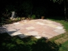 Natural stone patio with castelated edges