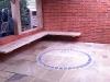 Custom built oak seating for the summerhouse