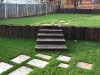 Upright Reclaimed sleeper wall and steps