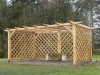Custom made oak pergola with trellis panels