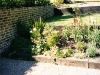 Reclaimed Georgian brick retaining wall with cottage planting