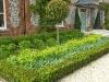 Formal structured scheme against house, Hebe Parviflora, Choysia ternata, lavender hidcote