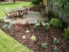 Feature planting around patio, small groups of architectural shaped plants