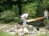 Disassembling of the pond and patio area with all waste being carefully removed and recycled where possible