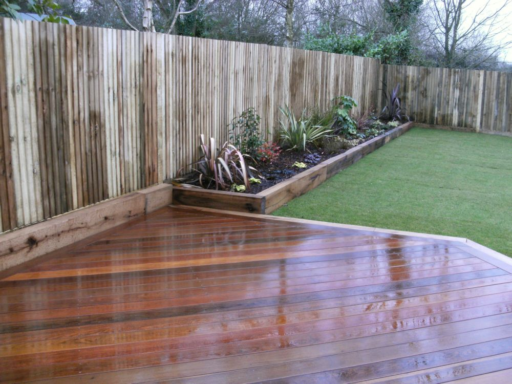 Garden design portfolio materials and features raised for Garden decking borders