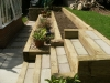 Raised split level softwood sleeper borders