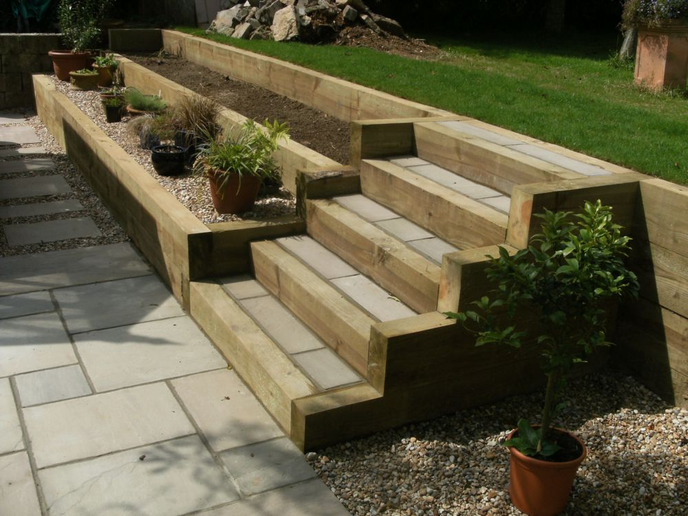 Garden landscape ideas sleepers beatiful landscape for Garden design ideas new build