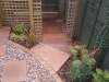 Small step section built with oak sleeper risers and stone paving treads