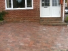 Small step section built with brick risers and stone paving treads