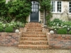 Step section built from reclaimed Tudor bricks