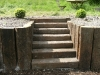 Step section built with reclaimed sleepers