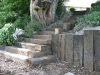 Winding step section built with reclaimed sleepers
