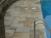 Pool side, natural stone paving - Fossil Mint colour band