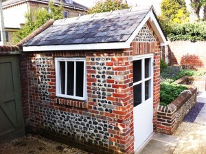 Completed Summer House, Old Brick With Flint Detailing, Reclaimed Slate Roof